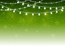 Christmas Light Bulbs On Starry Green Background