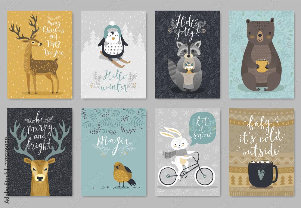 Fototapety, obrazy: Christmas animals card set, hand drawn style..