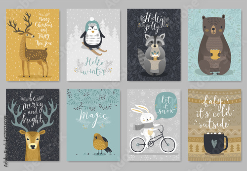 Valokuva  Christmas animals card set, hand drawn style..