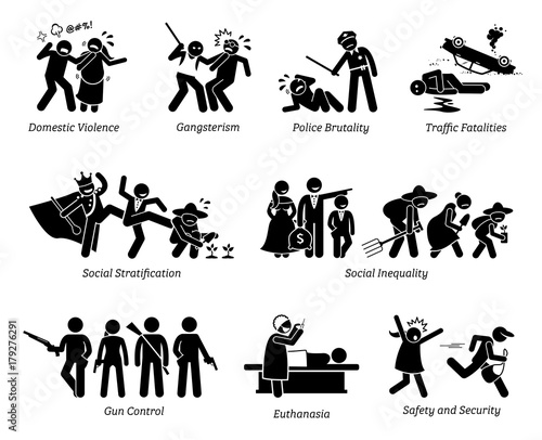 Fényképezés  Social Problems and Critical Issues Stick Figure Pictogram Icons.