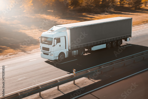 truck on the road freight transportation Canvas