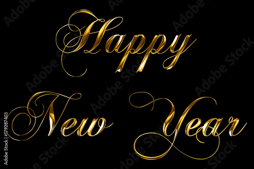 vintage yellow gold metallic happy new year 2018, 2019, 2020, 2021, 2022 word te Plakat