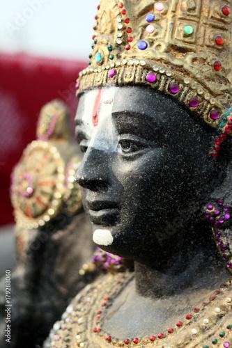 Closeup of idol of Hindu God Balaji or venkatesa or venkateswara,most popular and believed