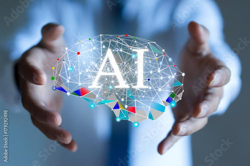 Obraz AI(Artificial Intelligence) concept. deep learning. - fototapety do salonu