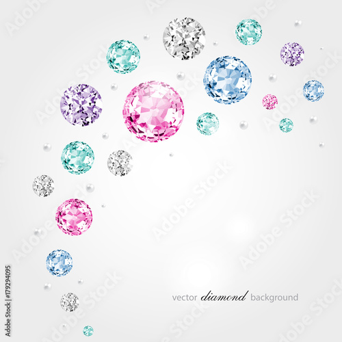 Fotografia  Abstract color background with diamonds and pearls