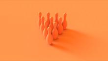 Orange Bowling Pins 3d Illustration 3d Rendering