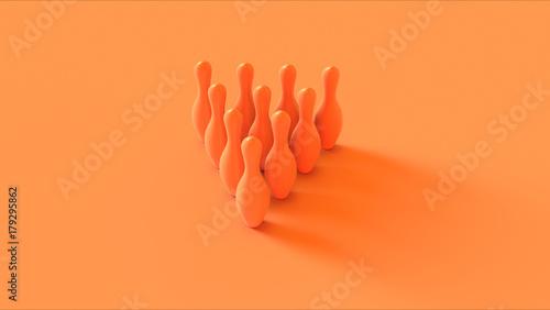 Orange Bowling Pins 3d illustration 3d rendering - Buy this