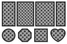 Set Cards Cut. Vector Panels Laser Cutting. Ratio 1:2, 2:3, 3:4, 1:3, Round, Octagon, Square, Heart. Cut Silhouette Geometric Pattern. Used Openwork Partitions, Panel, Printing, Laser Cutting, Stencil