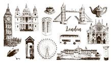 London Symbols: Big Ben, Tower Bridge, Bus, Guardsman, Mail Box, Call Box. St. Paul Cathedral, Tea, Umbrella, Westminster.