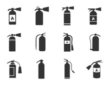 Fire Extinguisher Icons Set Isolated On White Background