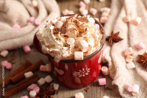 Foto op Plexiglas Chocolade hot chocolate with marshmallow