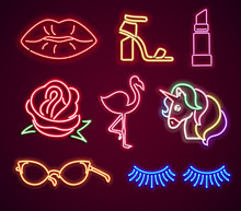 Set Fashion Neon Sign. Neon Sign, Bright Signboard, Light Banner. Vector Icons