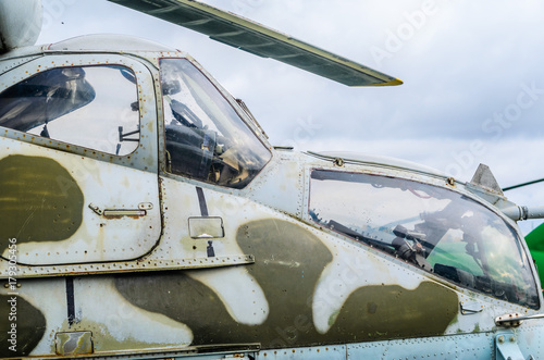 Part of the fuselage as a background of a combat helicopter Mi 24 Fototapeta