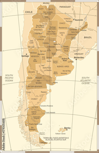 argentina-map-vintage-vector-illustration