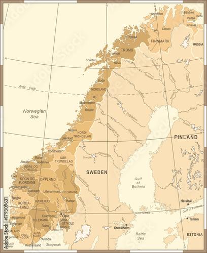 Norway Map - Vintage Vector Illustration Canvas Print