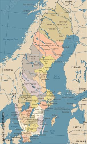 Cuadros en Lienzo Sweden Map - Vintage Vector Illustration