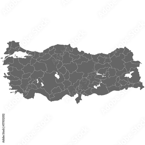 Photo High quality map Turkey with borders of the regions