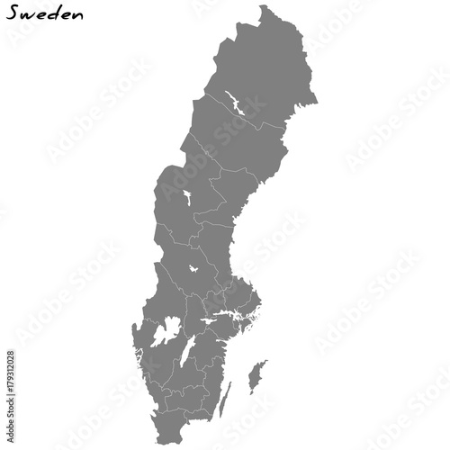 High quality map Sweden with borders of the regions Wallpaper Mural