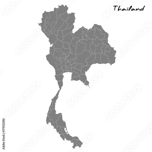 High quality map Thailand with borders of the regions Wallpaper Mural