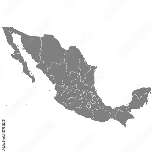 Photo High quality map Mexico with borders of the regions