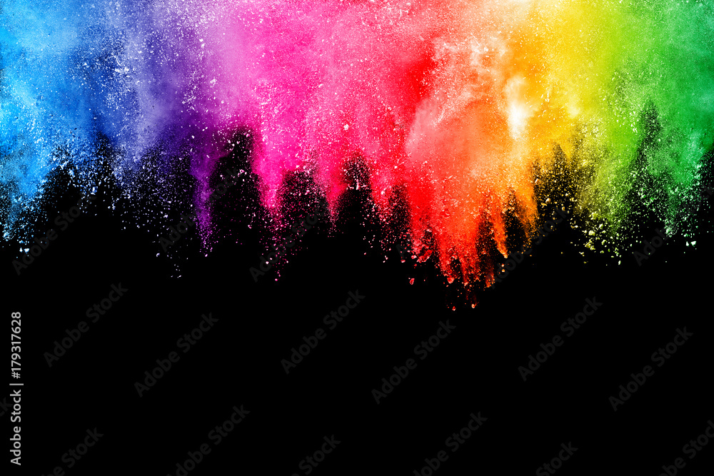 Fototapety, obrazy: Freeze motion of colored powder explosions isolated on black background