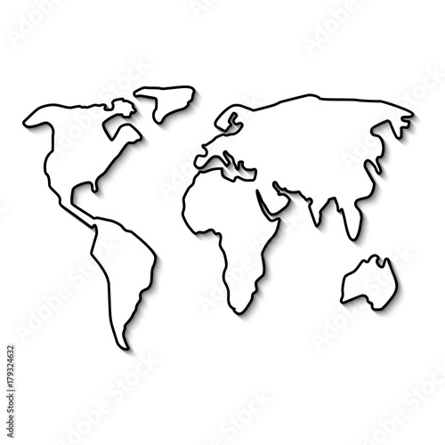 world map black line outline minimal style design vector illustration flat isolated on white background simple form continent buy this stock vector and explore similar vectors at adobe stock adobe stock world map black line outline minimal