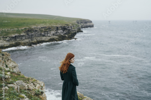 In de dag Fantasie Landschap Caucasian woman standing near ocean