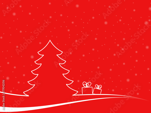 Staande foto Rood Abstract christmas tree in a minimal landscape with two gitf boxes and white snowflakes. christmas illustration with red background and white shapes