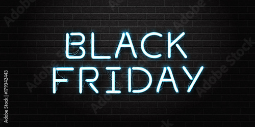Fotografia  Vector realistic isolated neon sign of Black Friday lettering for decoration and covering on the transparent background