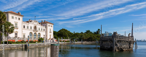 Vizcaya Museum Gardens in Miami, Florida. Monument like Ship in Water.