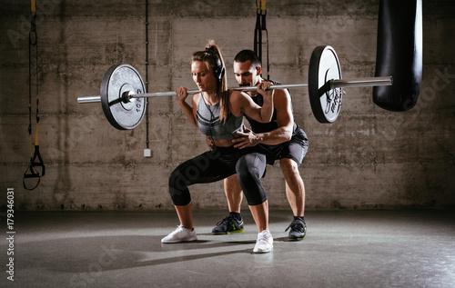 Fototapeta Cross fit Training With Coach obraz