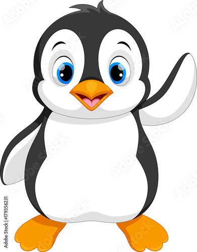 Fototapeta Vector illustration of cute baby penguin cartoon waving isolated on white backgr