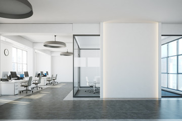 White open space, blank wall