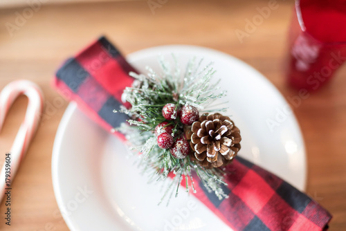 Fotografie, Obraz  Soft focus overhead table shot of Christmas holiday place setting