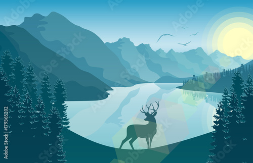 Mountain landscape with deer in a forest and lake at sunrise