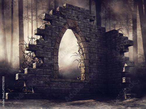 Zburzony budynek w lesie - fototapety na wymiar