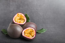 Passion Fruit On A Grey Stone ...