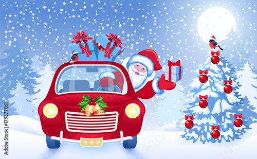 Papiers peints Chambre bébé Christmas card with Santa Claus in red car with gift box against winter forest background