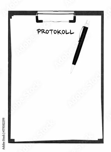 Fotografía  Protokoll auf einem Klemmbrett