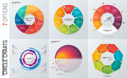 Obraz Collection of vector circle chart infographic templates for presentations, advertising, layouts, annual reports. 7 options, steps, parts. - fototapety do salonu
