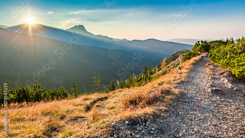 Stunning sunset in Tatra mountains from the ridge in autumn