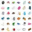 Slipper icons set, isometric style