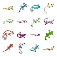 Lizard Icons Doodle Set