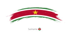 Flag Of Suriname In Rounded Gr...