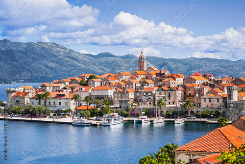 View of the Korcula town, Korcula island, Dalmatia, Croatia Tablou Canvas