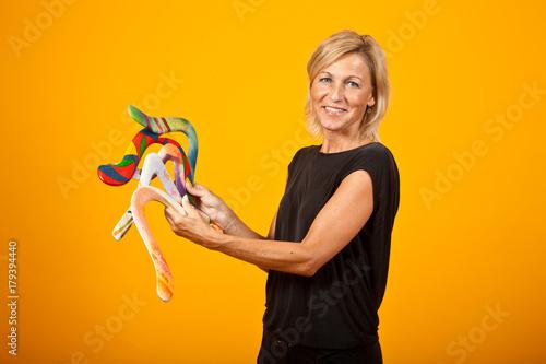 woman posing with a boomerang Canvas Print