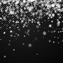 Black Winter Background With Snowflakes.