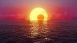Sunset and solar eclipse over seamlessly looped ocean.