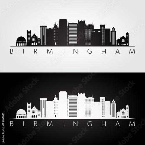Birmingham usa skyline and landmarks silhouette, black and white design, vector illustration Wallpaper Mural