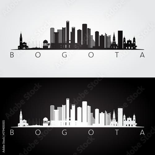 Bogota skyline and landmarks silhouette, black and white design, vector illustration Wallpaper Mural